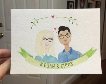 Watercolor 5 x 7 Custom Couple Portrait