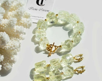 Bracelet and earrings with lemon quartz