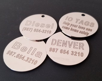 LASER Etched Round Tag Glitter Paw Pet ID Tag for Dog & Cat Custom Engraved Personalized