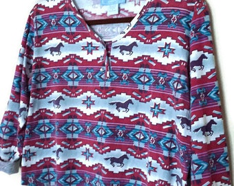 90s Adobe Rose SouthWest Print Cropped Top-Size Med-Equestrian Shirt