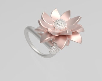 Contemporary Lotus Ring Design with 3D CAD Digital File