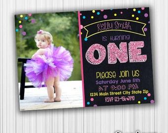 Polka Dot Birthday Invitation, Printable, Announcement, Milestone, Custom, Digital, any age