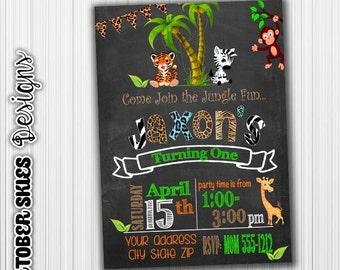Jungle Birthday Invitation, Safari Party, Announcement, Any Age, Custom, Printable, Digital