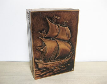 Vintage Copper Tin With Sailboat
