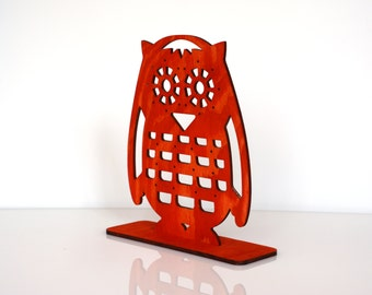 Red Owl Jewelry Stand, Wooden Earrings Holder, Earring Stand, Earring Display, Earring Organizer, Unique Home Decor, Gift for Her