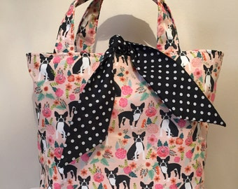 French bull dog print handbag