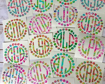 Lilly Pulitzer Monogram decal / Monogram Car decal / Yeti decal / Laptop decal / Tumbler Decal