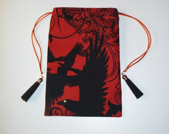 Black Crow Pouch with Tassels