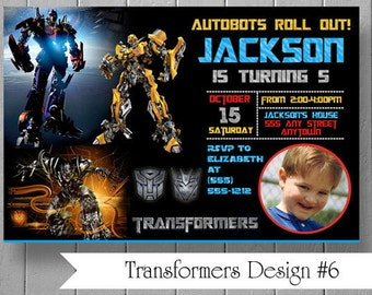 Photo Birthday Party Invitations Inspired by Transformers Optimus Prime Bumble Bee - Custom Made by US, Printed by YOU - Digital File JPEG