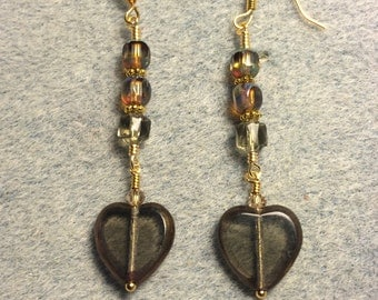 Translucent grey gold Czech glass heart bead dangle earrings adorned with grey gold Czech glass beads.