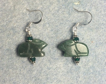 Dark green aventurine gemstone Zuni rabbit fetish bead earrings adorned with dark green Chinese crystal beads.
