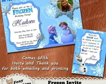 Frozen Digital Birthday Invite with Free Thank You Cards. Comes in 5x7 or 4x6. You can add a photo of your child. Can be emailed or printed.