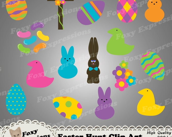 Easter Hunt Clip Art pack comes in bright colors and include Easter eggs, peeps candy, chocolate bunnies, jelly beans, flowers, and a cross