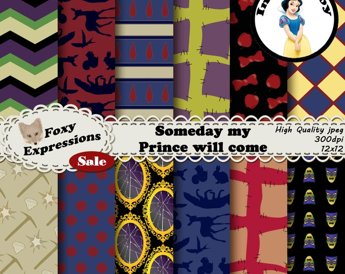 Someday my Prince will come digital paper inspired by Snow White and the seven Dwarfs. Includes Mirror, animals, Dopey, Grumpy, and more