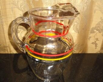 Vintage Mid Century Retro Multicolored Striped Lipped Glass Pitcher