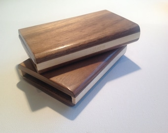 Wood business card holder, business card case handmade from walnut