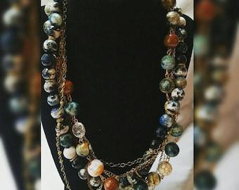 Multi Strand Necklace / Chain Jewelry / Semi Precious Gemstone Jewelry / Quartz Connector Charm / Beaded Necklace
