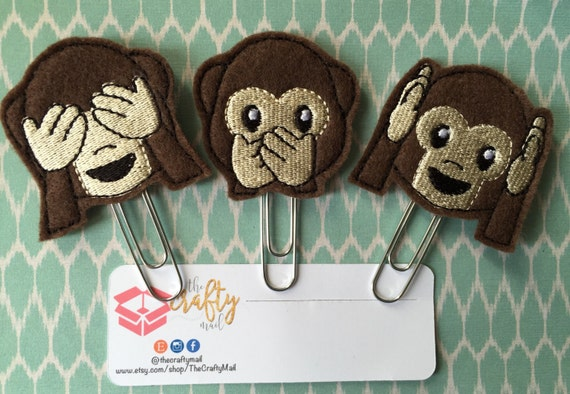 Evil Monkeys Paper Clip/Planner Clip/Bookmark/ See No Evil/Speak No Evil/Hear No Evil Choose One Or Complete Set. Character planner clip