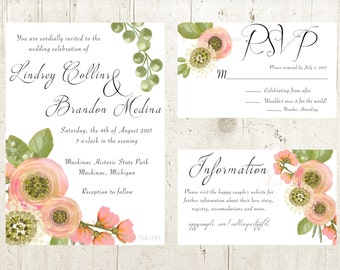 Pink Peony - Wedding Invitation