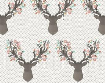 Crib Sheet | Baby Girl Bedding | Mint and Coral Crib Sheet | Floral Deer | Woodland Nursery | Standard or Mini Crib Sheet | Changing Pad