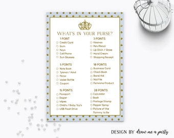 Royal Baby Shower Game , Royal Prince What's In Your Purse , Light Blue and Gold Baby Shower Game , Printable , Instant Download