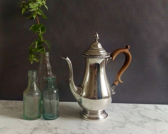 Sterling Silver Coffee Pot/ Sterling Silver/ Antique Coffee Urn/ Georgian Style Silver Coffee Pot/ Sterling Silver Tea Pot/ Wood handle