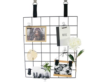 Grid Mood Boards - Metal Grid with Leather Straps - Metal Grid Memo Board // Black Grid Display // Memo Board // Pin Up Board // Wire Grid