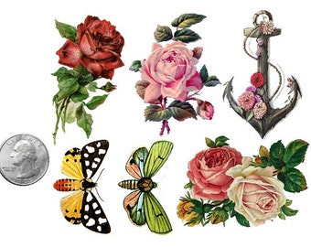 Temporary Tattoo - Set of 6 Vintage Floral OR Set of 10 Floral, Swallows & Feathers - Various Patterns