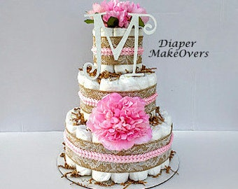 Rustic Burlap Lace Diaper Cake - Burlap Diaper Cake - Spring Flowers - Baby Shower Centerpiece - Shower Decorations - 3 Tier Diaper Cake