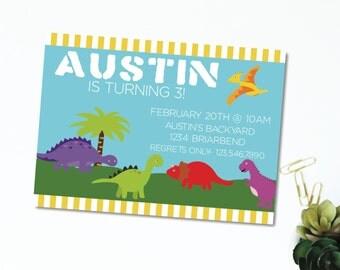 "PDF & JPEG OPTION | Dinosaurs | Birthday | Prehistoric | Children's Birthday Invitation | 5""x7"" | Customizable"