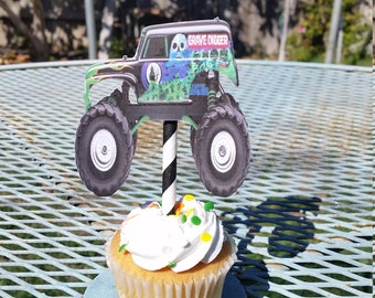 Grave Digger cupcake toppers, grave digger  party