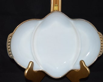 Fire King / Oven Ware / serving dish / 3 sections / sectioned dish / white / gold trim / gold / made in USA / 1950s / Fire King Oven Ware