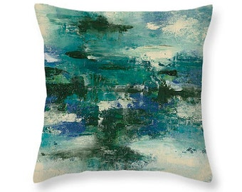 Throw Pillow Cover, Abstract Design Throw Pillow Cover Without Insert, 100% Cotton Fabric, Blue Green Pillow Cover, Home Decor, Made in USA