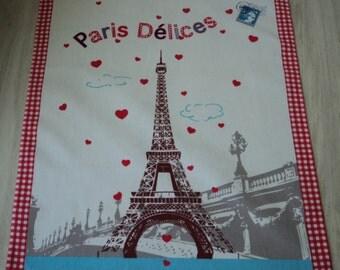 French vintage cotton printed Paris tea towel / torchon  (03583)