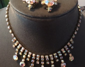 Vintage Aurora Borealis Necklace and Clip-on Earring Set