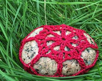Crochet Stone - Crochet Rock - Crochet Paperweight - Crochet Table Decor - Red Lace Sea Stone - Stone Decor