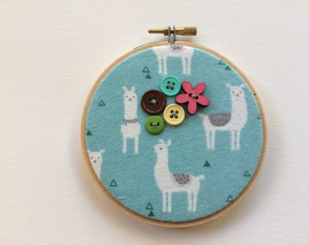 Your Mom's a Llama #1 Embroidered Wall Art with buttons 4 inches