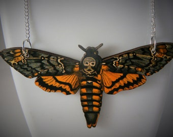 xlarge huge lasercut tatty death head moth butterfly necklace 15cm wide devine statement