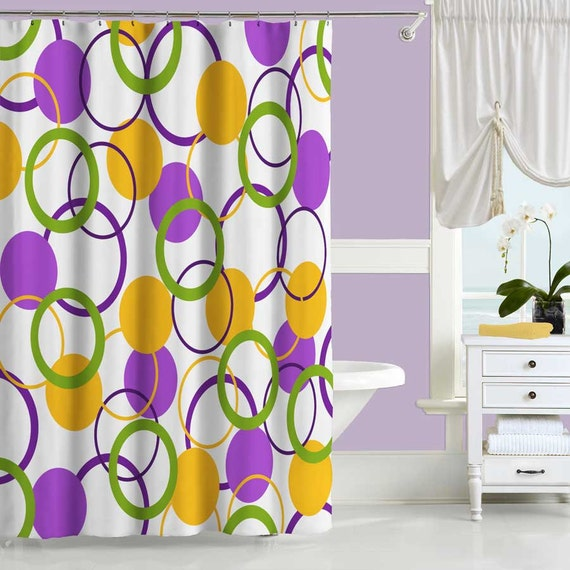 Colorful shower curtain purple yellow green bath curtain for Purple and yellow bathroom accessories