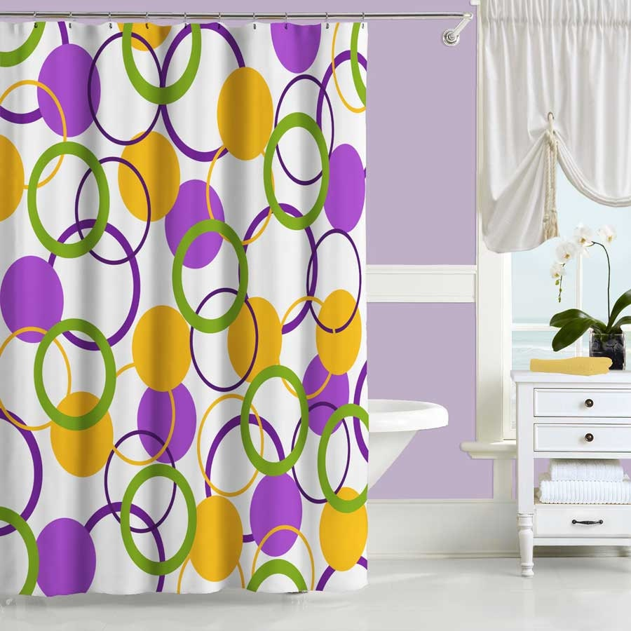 Colorful Shower Curtain Purple Yellow Green Bath Curtain