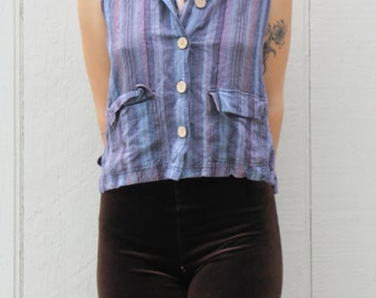 Vintage 90s Awesome Stripped Button Up Collared Tank Top Pockets