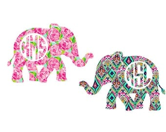 Lilly Pulitzer Inspired Elephant Monogram Decals | Elephant Monogran Decal|  Lilly monogram sticker | Yeti monogram |Lilly Yeti sticker
