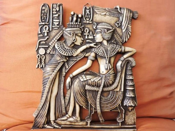 Amazing hand carved antique wall plaque of ancient egyptian