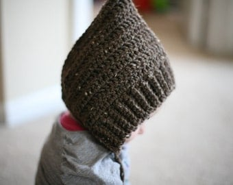 Ribbed Pixie Hat, Adorable Baby Bonnet, Pointy Baby Hat, Crocheted Toddler Bonnet, Cute Pixie Hat, Photography prop for newborns.