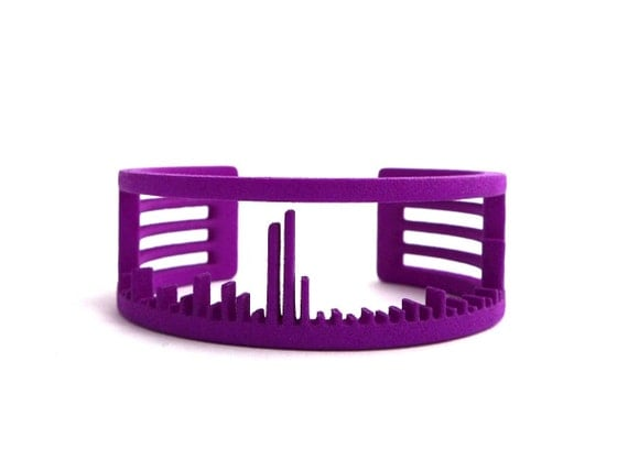 Mass Spectrum Cuff Bracelet-Science and Chemistry Jewelry in laser sintered nylon plastic