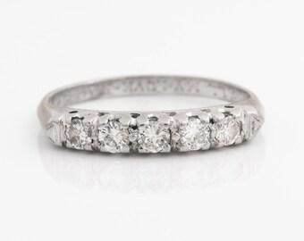 Circa 1930s Art Deco Vintage Five Stone Diamond Platinum Wedding Band, ATL #141A