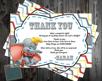 Dumbo the Flying Elephant Baby Shower Thank You Card Printable