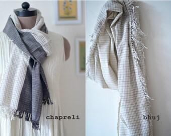 Chapreli & Bhuj, Hand Woven Kala Cotton Scarf ~ set of 2
