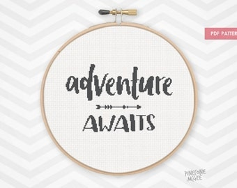 ADVENTURE AWAITS counted cross stitch pattern, easy typography quote pdf