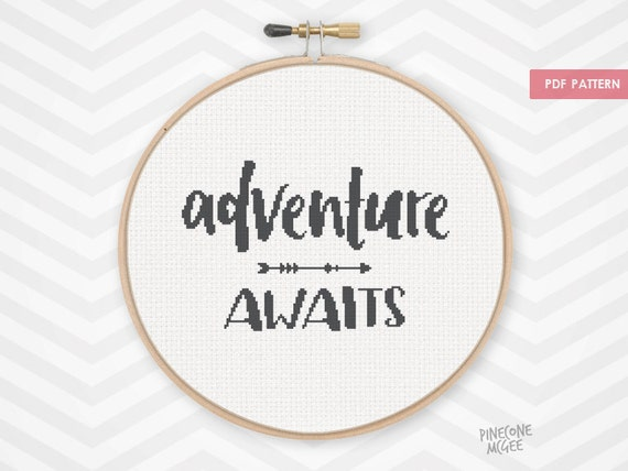 Adventure awaits counted cross stitch pattern easy black